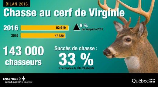 PLUS DE 50 000 CERFS DE VIRGINIE RÉCOLTÉS EN 2016