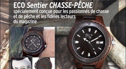 Idée-cadeau originale: Offrez la montre officielle en bois de Sentier CHASSE-PÊCHE